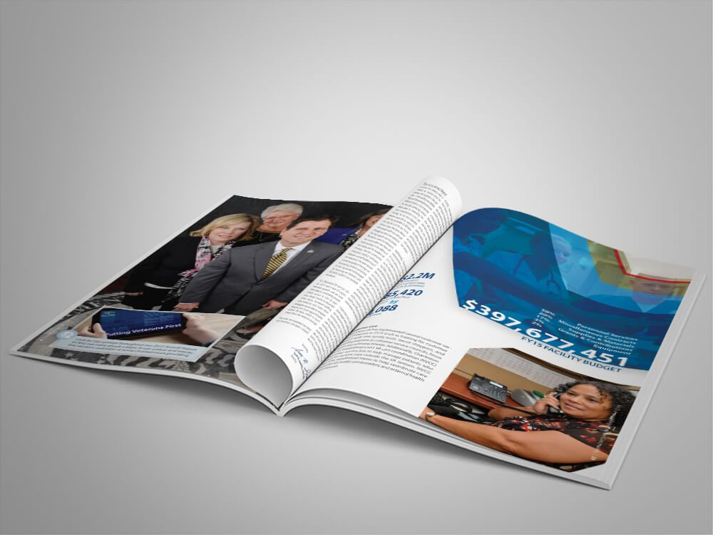 Sample page layout from annual report.